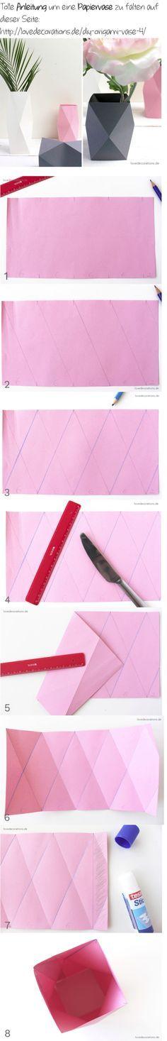 Super Anleitung zum Basteln einer Papiervase: http://lovedecorations.de/diy-origami-vase-4/