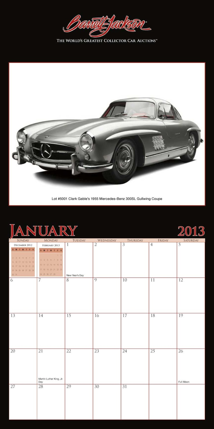 Barrett-Jackson, home of the world's greatest collector car auctions, produced a custom printed calendar featuring a dozen amazing collector cars that went on the block early this year. Highlights include cars that were owned by Clark Gable and Fatty Arbuckle, as well as the Batmobile from the original TV series. #calendar #printing #business #calendar www.yearbox.com
