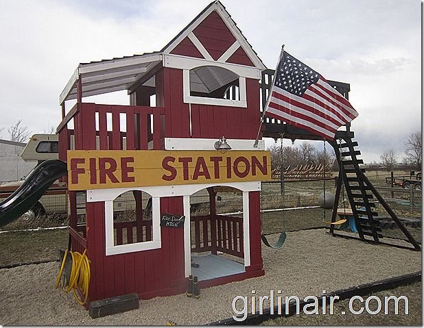 Turn a plain play set into a fabulous #firestation ! Amazing what a little paint can do