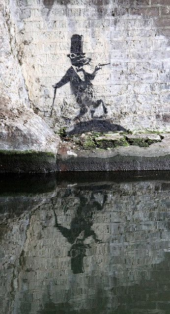 Only Banksy could make the cana; rat look distinguished - Banksy Rat, Regent's Canal