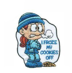 """I Froze My Cookies Off Fun Patch. We've all been there, shivering at the Girl Scout cookie booth and climbing over snow drifts going door-to-door. Unless you are lucky enough to live in a sunny state, you have probably asked yourself """"Who decided cookie season should be the coldest days of the year?"""" So this is a patch your girls will love! Available at MakingFriends.come"""