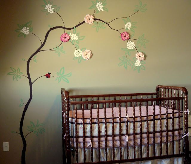 Kid tested mother approved nursery mural cherry blossom for Cherry tree mural