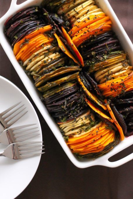 Fancy Shmancy Herb Roasted Root Vegetables - They look fancy but they're actually really easy to make! A perfect vegan side dish for Thanksgiving or Christmas, or any fall day!