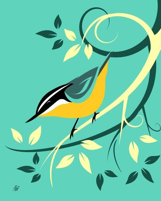 """""""Decorative Red Breasted Nuthatch Art"""" by Pixel Paint Studio.  Grow your wall with more whimsical prints from www.imagekind.com!"""