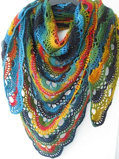 CROCHET SHAWL PATTERN = CHART available. German Triangle Scarf (2 pages) ~ Sheila