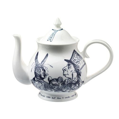 Alice in Wonderland Madhatter's tea party teapot. Original illustrations by John Tenniel. Gorgeous!