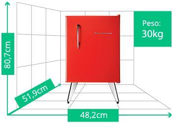 Frigobar Brastemp Retrô | Peso: 30kg | Altura: 80,7cm | Largura: 48,2cm | Profundidade: 51,9cm