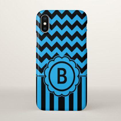 Black and Blue Chevron Monogram iPhone X Case - monogram gifts unique design style monogrammed diy cyo customize