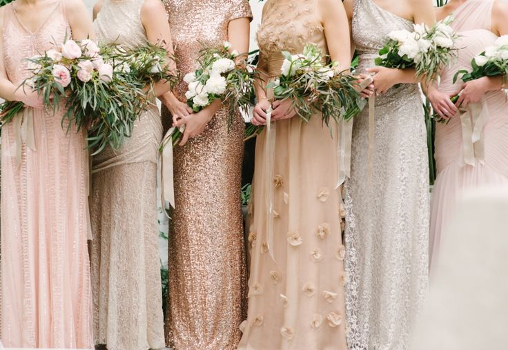 Add some glitz and glamour with sequinned bridesmaid dresses! | See more on See more on http://www.youmeantheworldtome.co.uk/friday-five-bridesmaid-dress-trends-2015/ Photography by Marissa Moss on Style Me Pretty