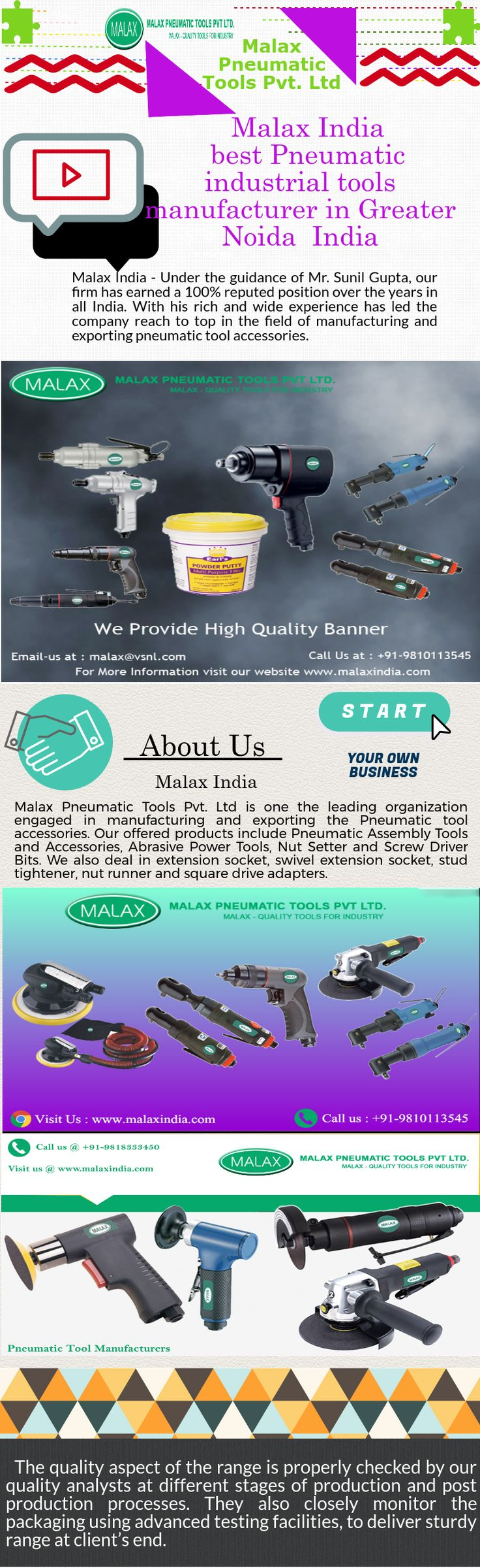 Malax Pneumatic Tools Pvt. Ltd is one the leading organization engaged in manufacturing and exporting the Pneumatic Assembly Tools and Accessories, Nut Setter and Screw Driver Bits, Abrasive Power Tools in India.  http://www.malaxindia.com/