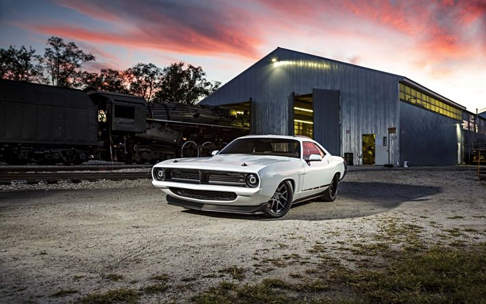 Download wallpapers Plymouth Hemi Cuda, 1970, Plymouth Barracuda, Muscle car, retro cars, tuning, white sports coupe, USA