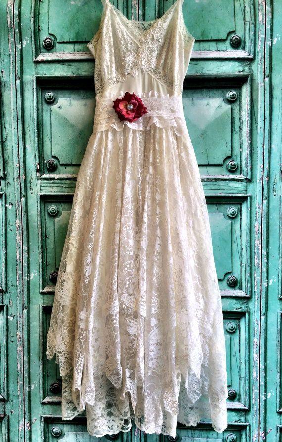 white & ivory lace handkerchief hem boho wedding dress by mermaid miss k minus the flower pleasse