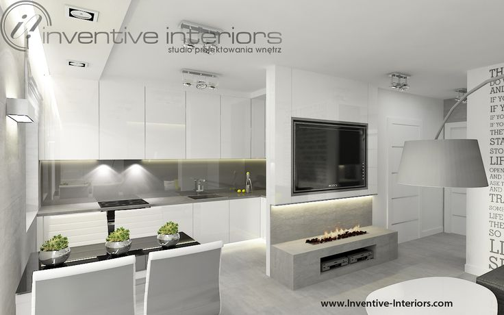 Projekt salonu z aneksem Inventive Interiors - Biokominek w salonie