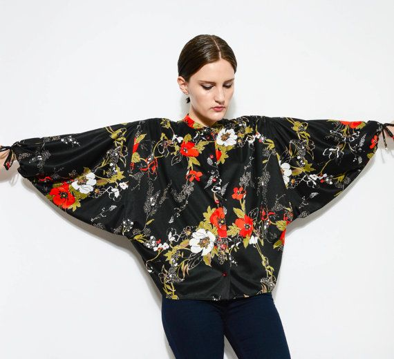 Vintage 70s Black Floral Top Draped Oversize Tent Blouse Batwing Sleeve 1970s Boho Hippie Button Up Shirt  by SHOPPOMPOMVINTAGE