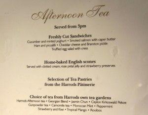 Harrods the Georgian restaurant afternoon tea menu