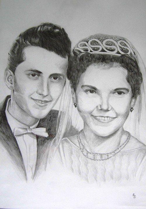 Svatební portrét podle fotografie
