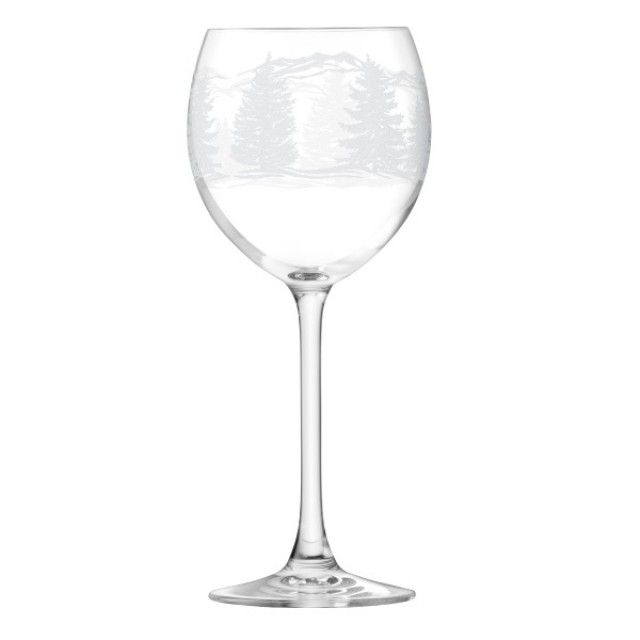LSA Tirol Set of 4 Wine Glasses with Etched Christmas Design