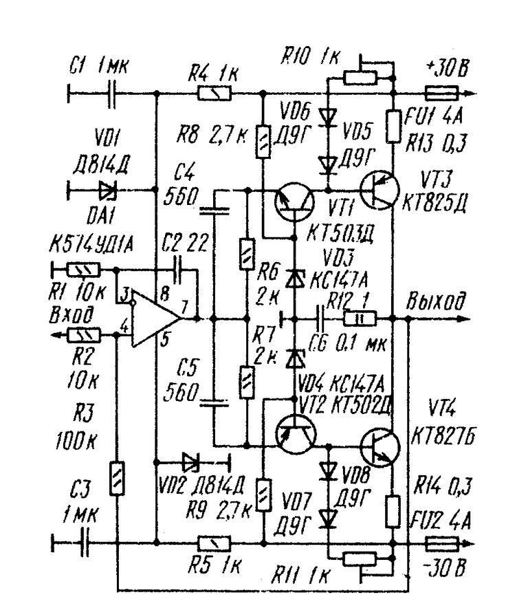 Рис. 1. Принципиальная схема мощного УМЗЧ на транзисторах КТ825 и КТ827.