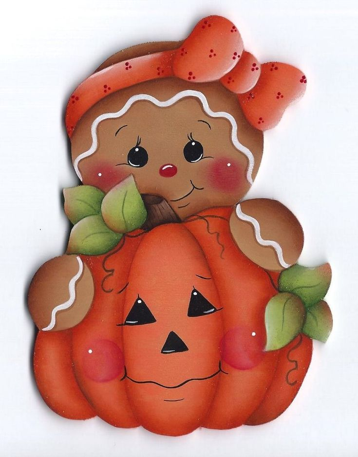 HP GINGERBREAD Girl with Pumpkin FRIDGE MAGNET #Handpainted