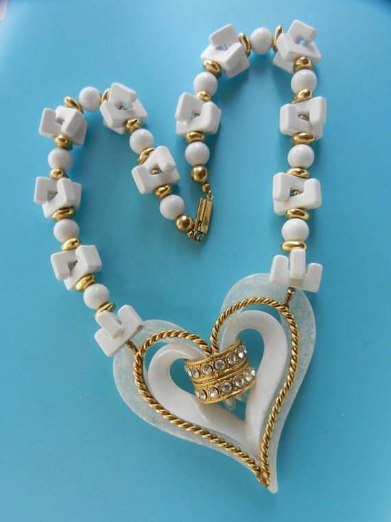 White romantic  and showy fancy beads & decorative heart