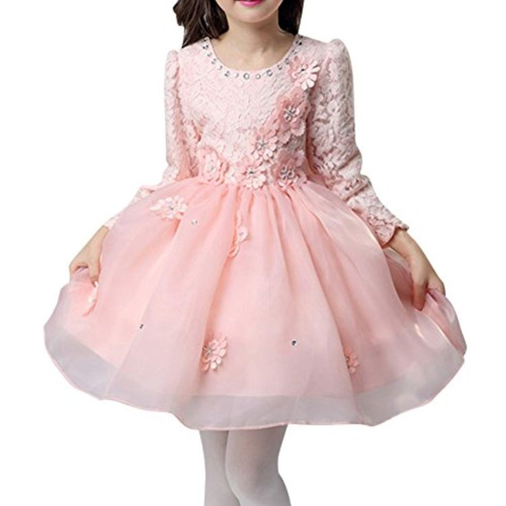 MNBS Children's Dress Long Sleeves Weding Dress Princess One Piece Dress Pink 110 - Brought to you by Avarsha.com