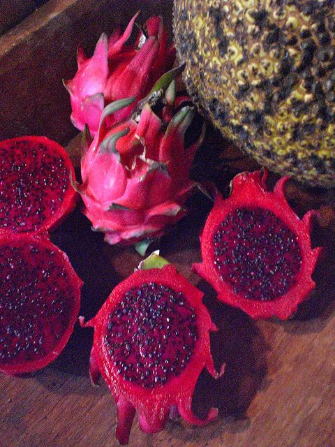 Fresh organic Dragonfruit, one of my favorite fruits. In Spanish they are Pitahayas...
