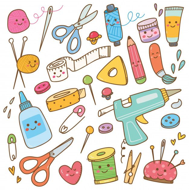 Art And Craft Supplies Doodle Diy Tools Set In 2020 Craft Logo Art Supplies Drawing Sewing Art