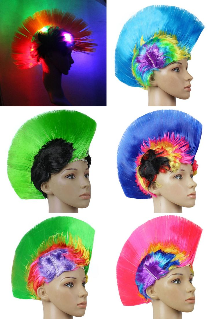 [Visit to Buy] Multi Coloured Rainbow Mohawk LED Light Punk Wig For Fancy Dress Rocker Costume #Advertisement