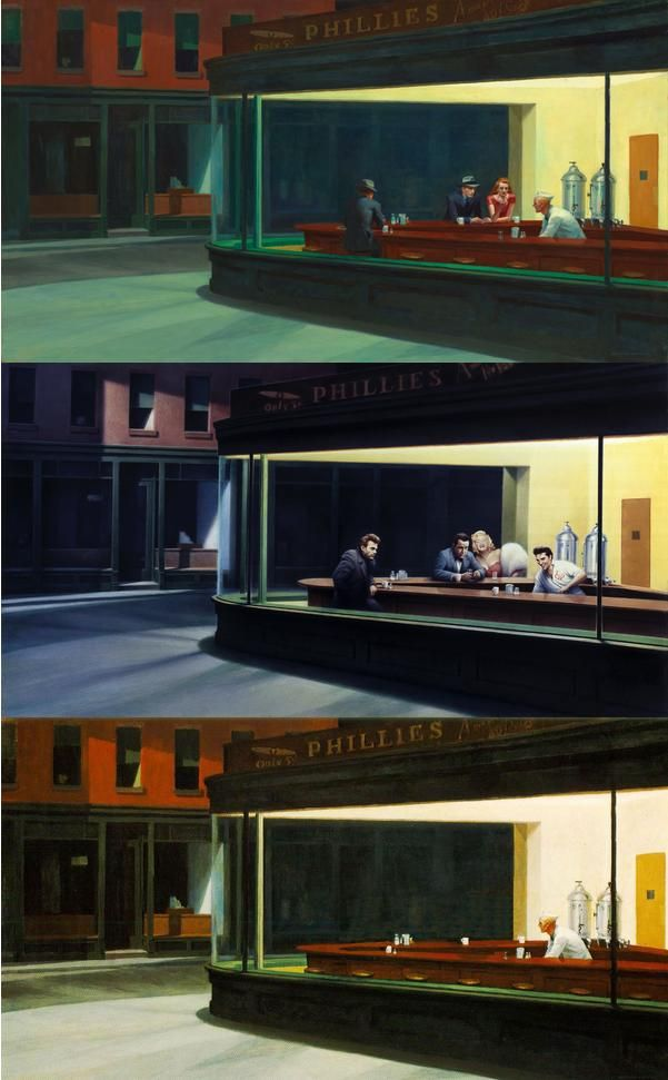 """The painting of Edward Hooper, that became the icon of popculture. First from above is orginal from 1942 done by Hooper, the lower one is the first remake """"Boulevard of Broken Dreams"""" done by Gottfried Helnwein in 1984, the lowest is by Bryan Clark"""