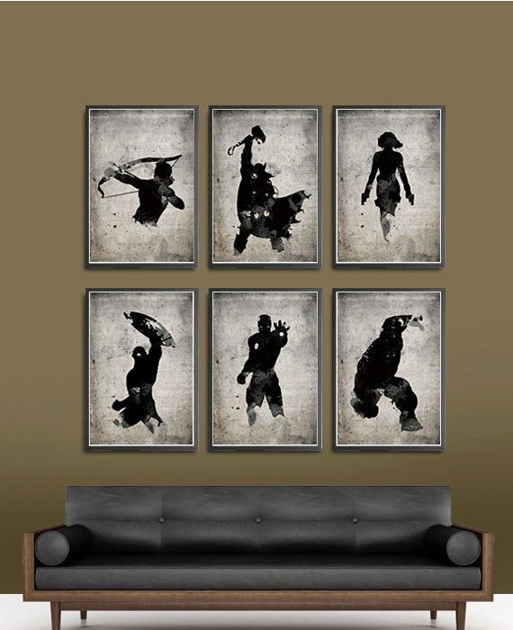 The Avengers Superheroes Iron Man, Hawkeye, Black Widow, Thor, Hulk and Captain America Superheroes A3 Movie Poster Set. $60.00, via Etsy.