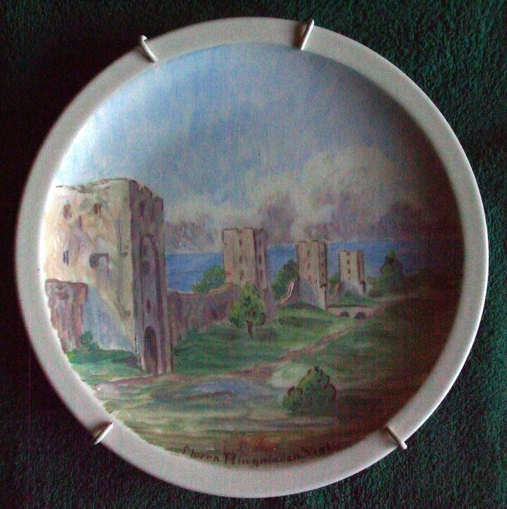 Sweden Wall plate tile plaque Norra Ringmuren Visby Signature of author  RARE