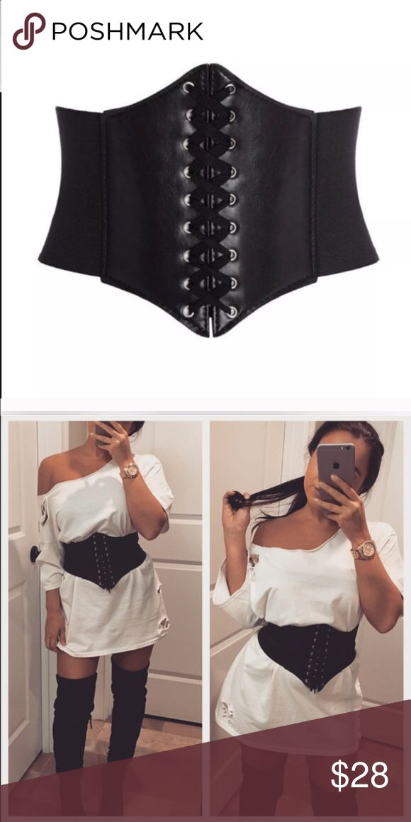 ✨NEW✨Black corset belt Black adjustable corset belt. Features a Velcro strap in the back to fit all sizes. These are sooo in right now. Additional photos are shown for styling tips. Please comment and let me know if you would like the t-shirt dress that is shown and I will create you a separate listing. No trades. Accessories Belts