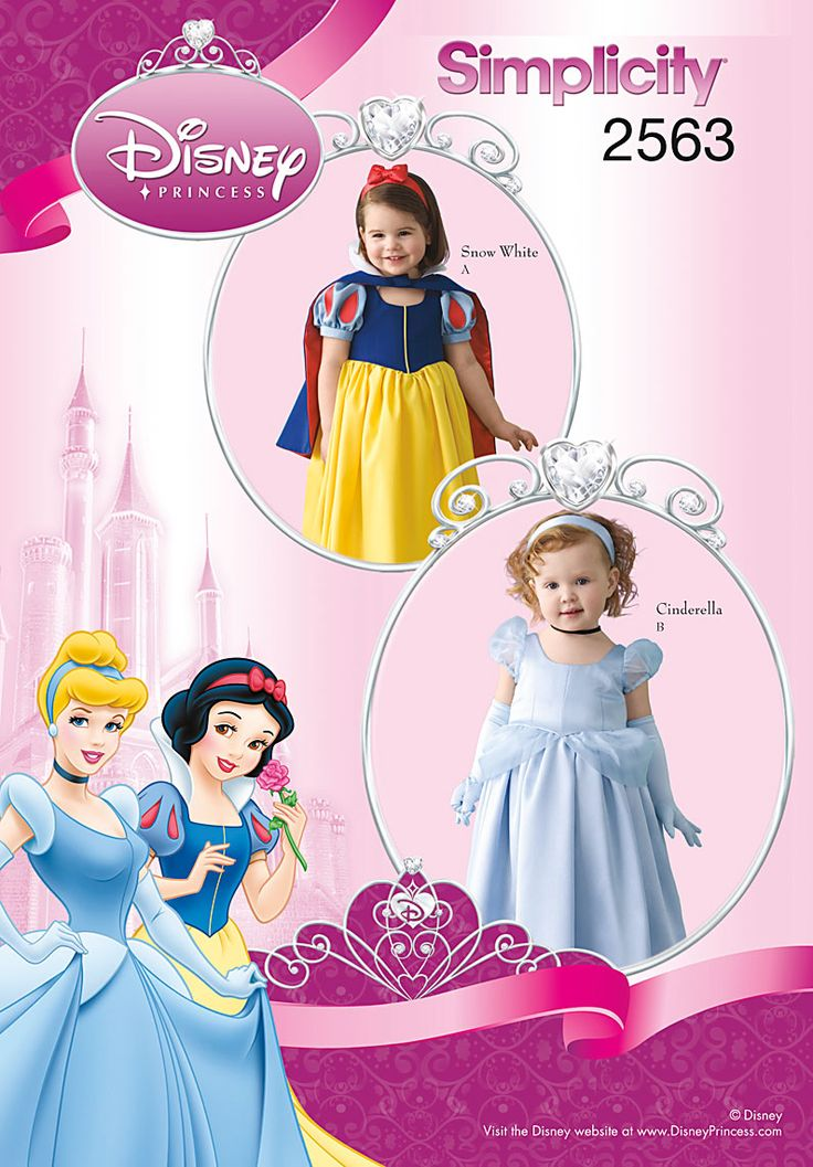 A pattern for Snow White and Cinderella costumes. I could change the colors and material and create every princess gown from this pattern!  Simplicity : 2563