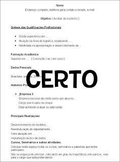 .::Como Elaborar um Currículo::.: Modelo de currículo CERTO e ERRADO (clique na imagem)