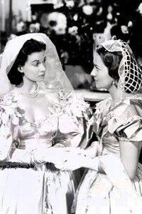 Vivien Leigh and Olivia de Havilland - Scarlett and Melanie at Scarlett's wedding - Gone with the Wind 1949