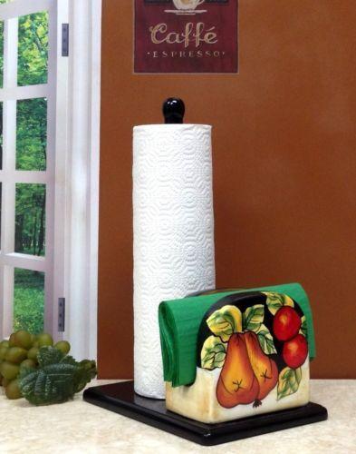 Tuscany-Black-Winter-Fruit-Paper-Towel-Napkin-Holder-Elegant-Tuscan-Decor-NEW