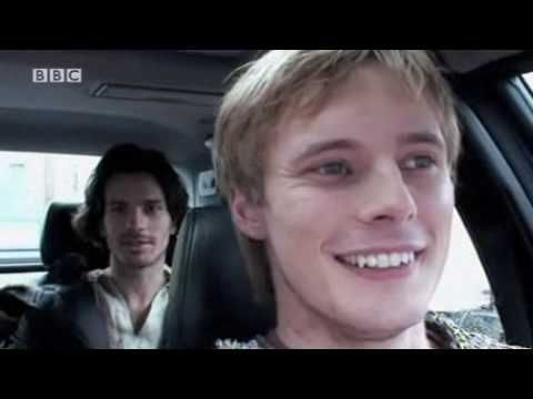 Bradley James (Prince Arthur Pendragon) and Santiago Cabrera (Lancelot) in a behind the scenes report about BBC Merlin's episode '01.05 Lancelot'. Click to play