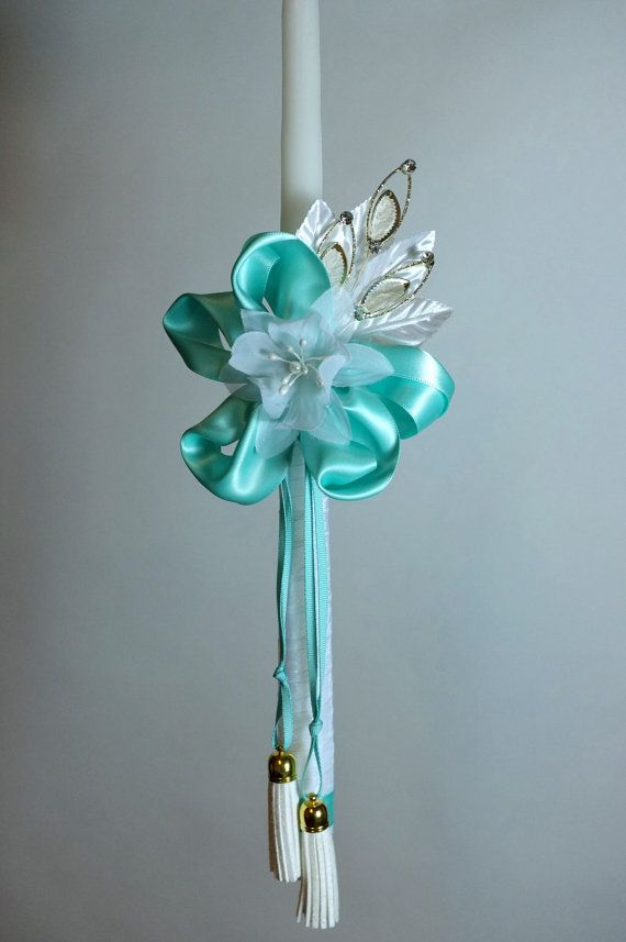 """18"""" Easter Greek Candle Lambada Decorated with Turquoise Ribbons a Flower"""