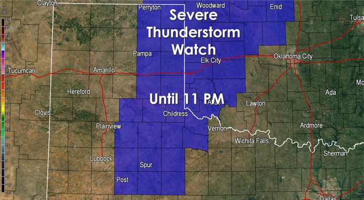Severe Thunderstorm Watch until 11 PM for West Texas   THE NWS STORM PREDICTION CENTER HAS ISSUED A    * SEVERE THUNDERSTORM WATCH FOR PORTIONS OF      SOUTH CENTRAL KANSAS      WESTERN OKLAHOMA      WEST TEXAS INCLUDING THE EASTERN PANHANDLE    * EFFECTIVE THIS SUNDAY AFTERNOON AND EVENING FROM 520 PM UNTIL      1100 PM CDT.    * PRIMARY THREATS... Read the whole article at http://texasstormchasers.com/?p=36802 - David Reimer