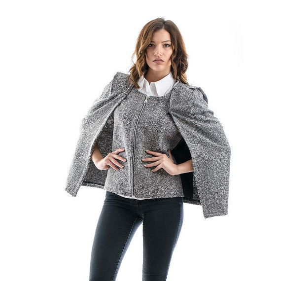 Tweed Waistcoat Cape spring coatspring vest by madecoutureeu