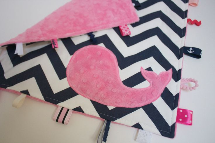 Baby girl NAUTICAL blanket sensory toy lovey pink by LilKingdom