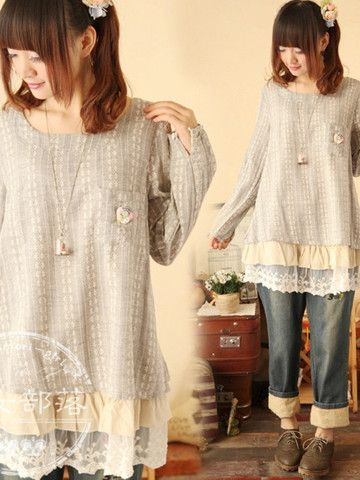 autumn tale lace hem t shirt mori girl