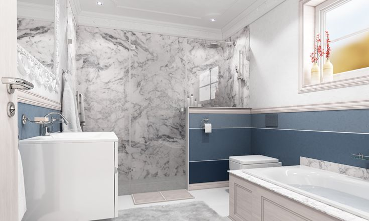 The shower offers a major impact on the design with its natural marble and frameless glass shower panels, setting the scene for modern bathroom design.