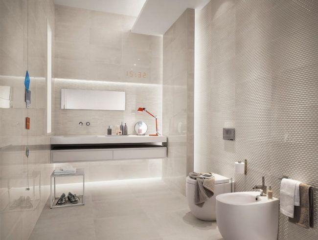 Moderne Badezimmer Fliesen Creme Beige Indirekte Led Beleuchtung