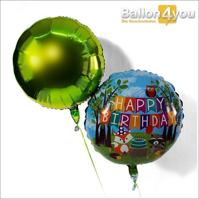 Ballonbukett Tiere des Waldes - Alles Gute zum Geburtstag  Eine tierische Geburtstagsparty! Die Tiere des Waldes haben sich bereits versammelt, um dem Geburtstagkind zu gratulieren. Eine Geburtstagstorte, sowie eine bunte Dekoration dürfen dabei nicht fehlen. Abgerundet wird dieses Bukett durch einen grünen Rundballon.