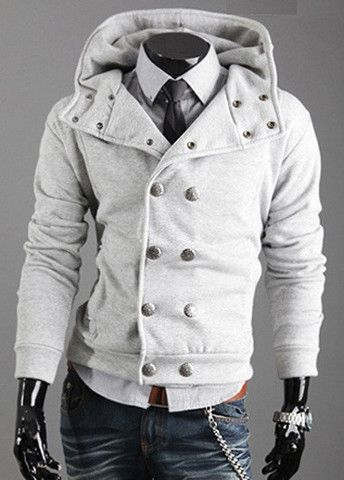Laconic Double Breasted Long Sleeve Hoodies with Button – teeteecee - fashion in style