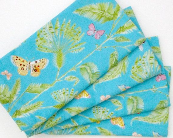 Large Cloth Napkins  Set of 4  Butterflies by ClearSkyHome on Etsy