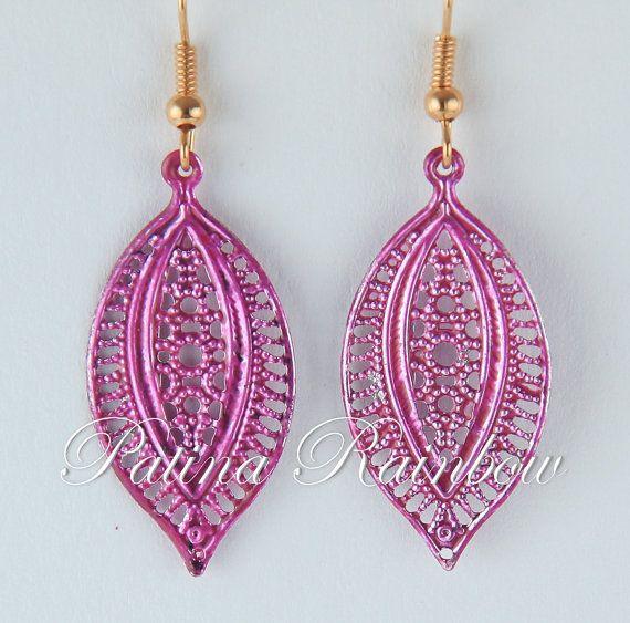 Pink Boho Earrings Hippie Earrings Verdigris Leaf by PatinaRainbow