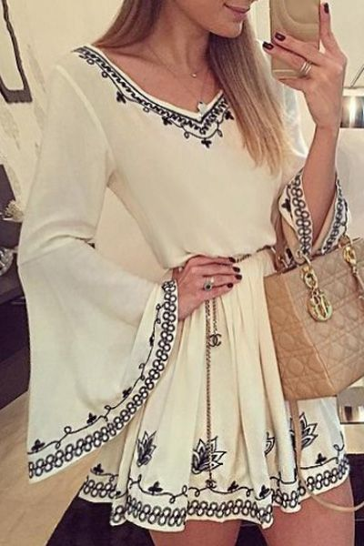 Long Bell Sleeve Tunic Dress WHITE: Long Sleeve Dresses | ZAFUL