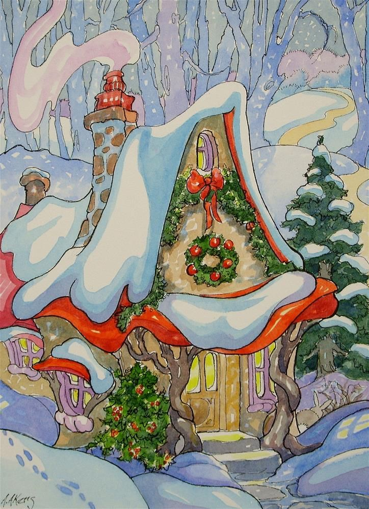 A Christmas Twilight Storybook Cottage Series original fine art by Alida Akers